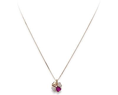 Růžově pozlacený stříbrný náhrdelník se zirkony Love CLPQURR