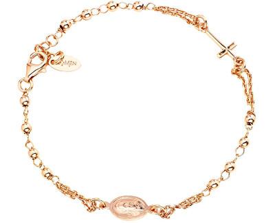 Růžově pozlacený stříbrný náramek Rosary BROR3
