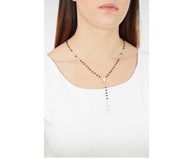 Originálne strieborný náhrdelník s červenými kryštálmi Rosary CROBR4