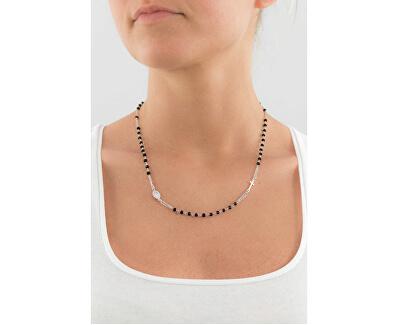 Originálne strieborný náhrdelník s Onyx Rosary CROBN3