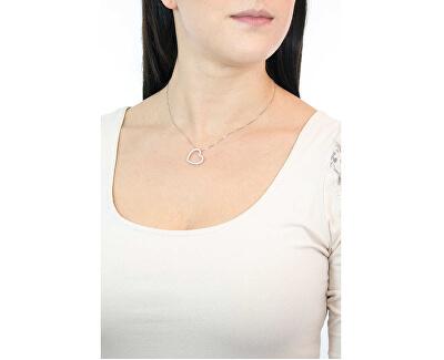 Originální stříbrný náhrdelník se zirkony Love CLHE1