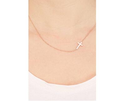 Růžově pozlacený stříbrný náhrdelník Pray, Love CLCR3