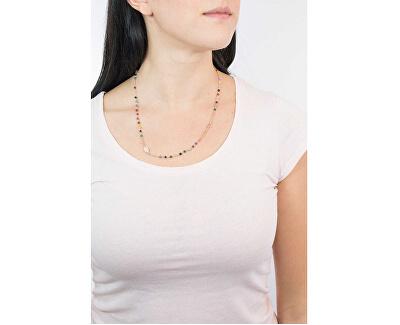 Růžově pozlacený stříbrný náhrdelník s acháty Rosary CRORM3P