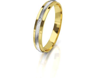 Dámský bicolor snubní prsten ze zlata s diamantem AUG328