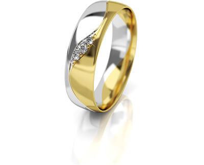 Dámský bicolor snubní prsten ze zlata se zirkony AUG276