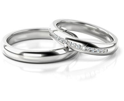 Dámský snubní prsten z bílého zlata se zirkony AUG277