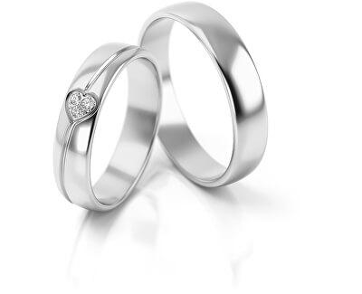 Pánský snubní prsten z bílého zlata AUG314B