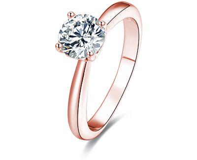 Růžově pozlacený stříbrný prsten s krystaly AGG201