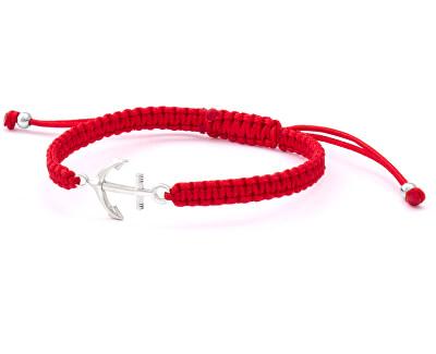 Šňůrkový červený kabala náramek Kotva AGB548