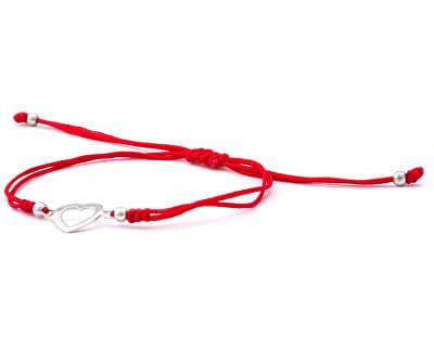 Šňůrkový červený kabala náramek Srdce AGB561