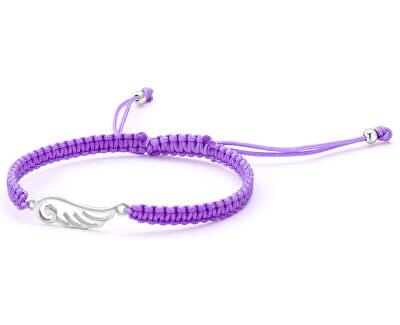Šňůrkový fialový kabala náramek Andělské křídlo AGB554