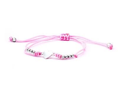 Šňůrkový růžový kabala náramek Srdce AGB541