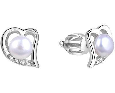 Stříbrné srdíčkové náušnice s pravou perlou AGUP1412PS