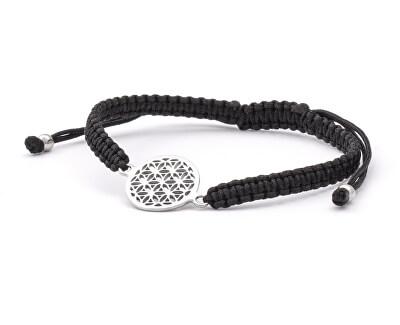 Stylový černý šňůrkový kabala náramek Mandala AGB564