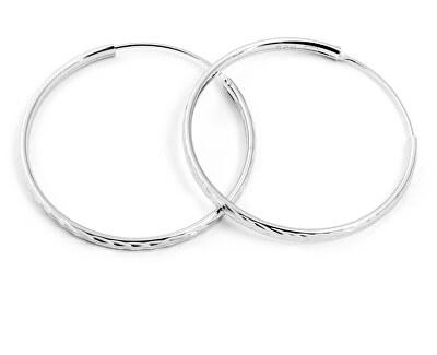 Třpytivé stříbrné kruhové náušnice AGUC2099/35/N