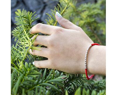 Červený šňůrkový kabala náramek se stříbrnými korálky AGB574