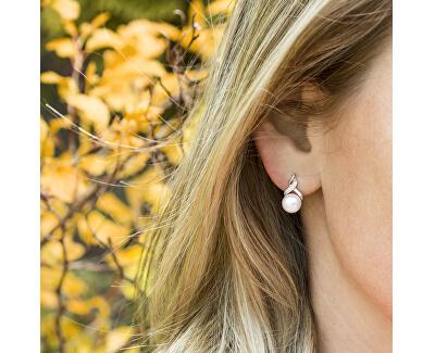 Luxusní perlové náušnice se zirkony AGUP2616P-WHITE