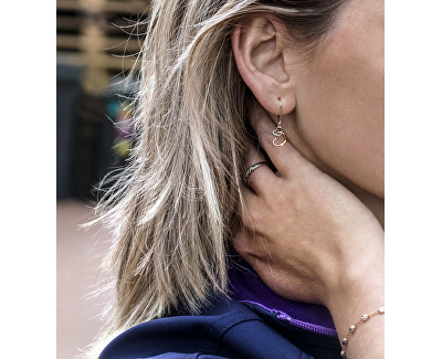 Romantické stříbrné bicolor náušnice se srdíčky AGUC2608