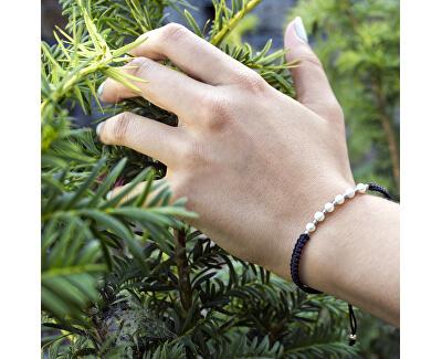 Šňůrkový černý kabala náramek s pravými perlami AGB550