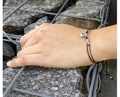 Šňůrkový černý kabala náramek Srdce AGB555