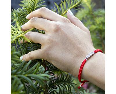 Šňůrkový červený kabala náramek s krystaly Swarovski AGB565