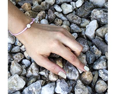 Schnur rosa Kabbala Armband mit echter Perle AGB540