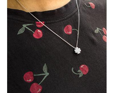 Stříbrný náhrdelník Čtyřlístek se zirkony AAGS162/45 (řetízek, přívěsek)