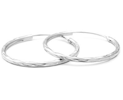 Třpytivé stříbrné kruhové náušnice AGUC2097/30/N