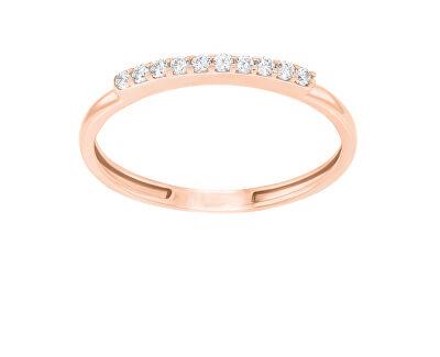Elegantní prsten z růžového zlata se zirkony GR067RAU