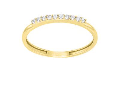 Elegantní prsten ze žlutého zlata se zirkony GR067YAU