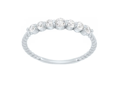Jemný prsten z bílého zlata se zirkony GR162WAU