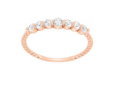 Jemný prsten z růžového zlata se zirkony GR162RAU