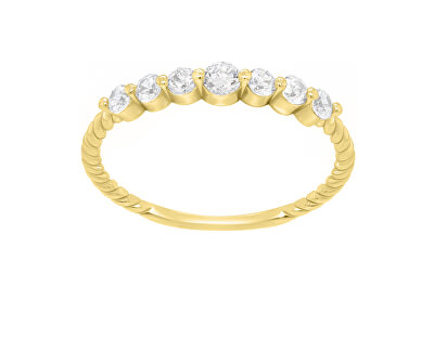 Jemný prsten ze žlutého zlata se zirkony GR162YAU