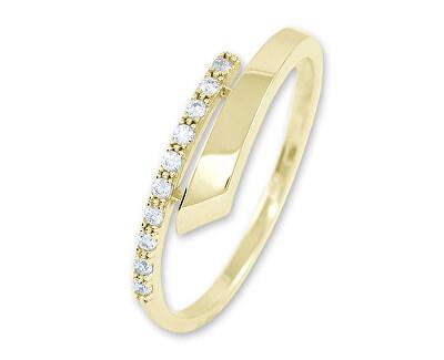Něžný dámský prsten ze žlutého zlata s krystaly 229 001 00857