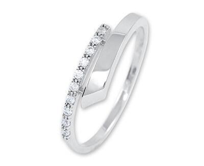 Něžný dámský prsten z bílého zlata s krystaly 229 001 00857 07