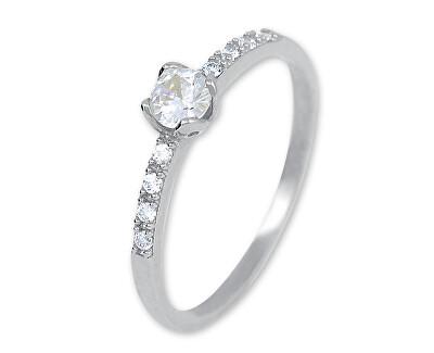 Něžný prsten z bílého zlata s krystaly 229 001 00858 07