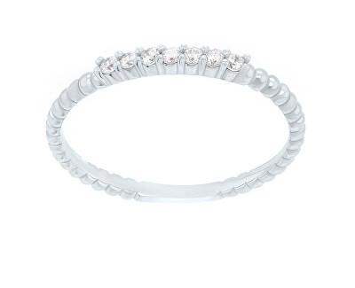 Něžný prsten z bílého zlata se zirkony SR045WAU