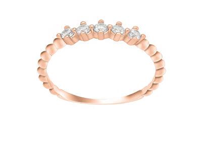 Něžný prsten z růžového zlata se zirkony GR122RAU
