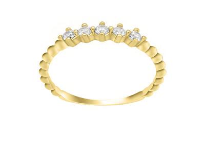 Něžný prsten ze žlutého zlata se zirkony GR122YAU