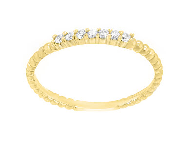Něžný prsten ze žlutého zlata se zirkony SR045YAU