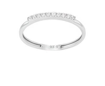 Elegantní prsten z bílého zlata se zirkony GR067WAU