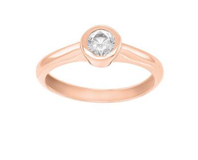 Půvabný prsten z růžového zlata se zirkonem SR042RAU