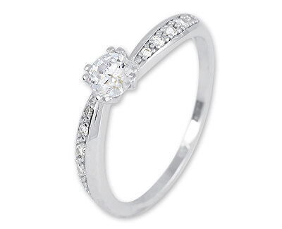 Třpytivý prsten z bílého zlata s krystaly 229 001 00830 07