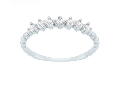 Třpytivý prsten z bílého zlata SR031WAU