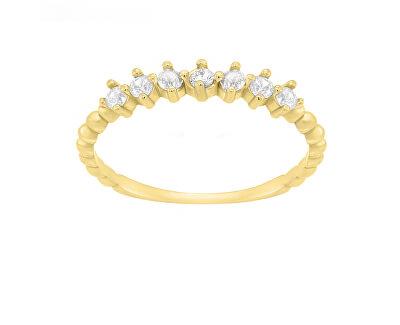 Třpytivý prsten ze žlutého zlata SR031YAU