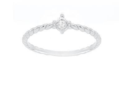 Zásnubní prsten z bílého zlata s krystalem GR022WAU