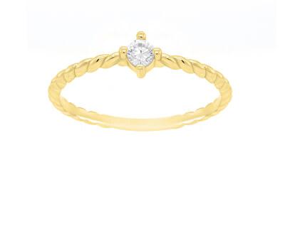 Zásnubní prsten ze žlutého zlata s krystalem GR022YAU