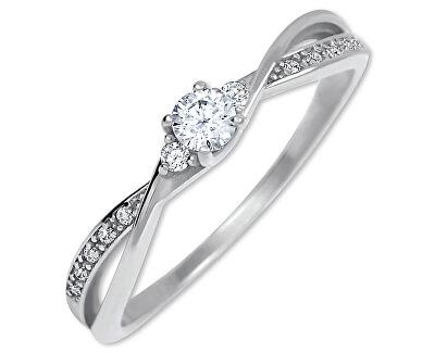 Zlatý zásnubný prsteň s kryštálmi 229 001 00812 07