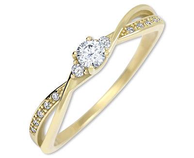 Zlatý zásnubní prsten s krystaly 229 001 00812
