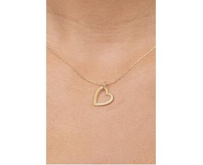 Zlatý přívěsek srdce s krystaly 249 001 00494